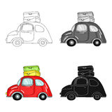 Red car with a luggage on the roof icon in cartoon style isolated on white background. Family holiday symbol stock. Red car with a luggage on the roof icon in Royalty Free Stock Photography