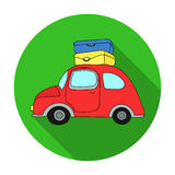 Red car with a luggage on the roof icon in flat style isolated on white background. Family holiday symbol stock vector. Red car with a luggage on the roof icon Royalty Free Stock Photo