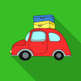 Red car with a luggage on the roof icon in flat style isolated on white background. Family holiday symbol stock vector. Red car with a luggage on the roof icon Stock Photo