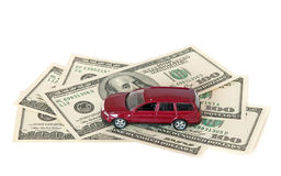 Red car and money Royalty Free Stock Photos