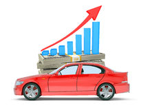 Red car with money and graph Royalty Free Stock Photo
