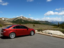 Red Car and Mountains Royalty Free Stock Photos