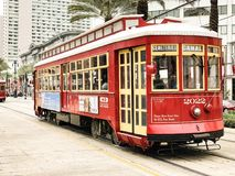 Red car in the new orleans, royalty free stock image