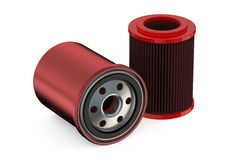 Red Car Oil filters. Isolated on white background Royalty Free Stock Photo