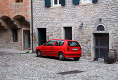 Red Car in Old Town Royalty Free Stock Photography