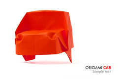 Red car. Origami red isolated cartoon car on a white background Royalty Free Stock Image
