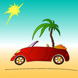 Red car and palm tree, cabriolet summer illustration Stock Images