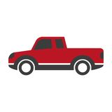 Red car pick up in cartoon style flat design isolated Royalty Free Stock Images