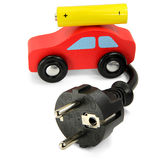 Red Car With Power Plug And Battery Royalty Free Stock Photo