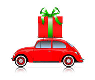 Red car with present Royalty Free Stock Photos