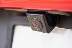 Free Red Car Rear View Camera Closeup For Parking Assistance Royalty Free Stock Image - 154490726