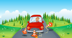 A red car at the road bumping the traffic cones Stock Photography
