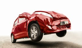 Flying car with broken part from crash. The red car on the road has damaged the front. Traffic accident of a car traveling by road. Flying car with broken part royalty free stock images