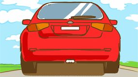 Cartoon red car is on the road in summer day Royalty Free Stock Photo