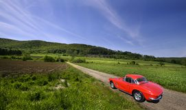 Red Car On Rural Royalty Free Stock Photography