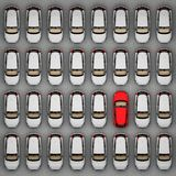 Red car of the same white. Top view. 3d rendering stock illustration