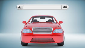 Red car with search field Royalty Free Stock Photography