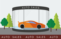 Red car in  showroom. Exhibition Pavilion, showroom with a red car, flat style Royalty Free Stock Photography