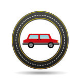Red car side circle road way design Royalty Free Stock Photography