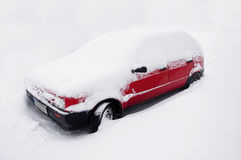 Red car at snow Stock Photos