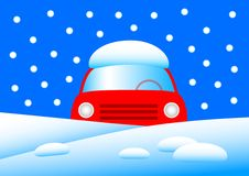 Red car in snow Royalty Free Stock Images