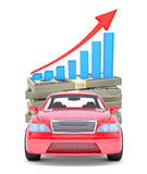 Red car with stack of money and graph Stock Photography