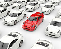 Red car stands out among many white cars Stock Photo