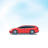 Red Car Station Wagon Combi Side View Royalty Free Stock Photos