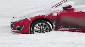 Car stuck in deep snow
