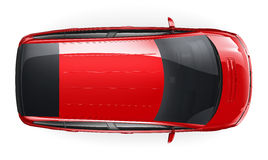 Red car - top view Royalty Free Stock Photos