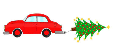 Red car towing a tree Royalty Free Stock Photo