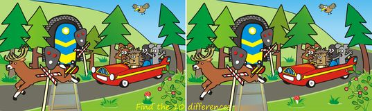 Red car and train-10 differences. Game for children, youth and adults. Search the ten differences in the figures Stock Image