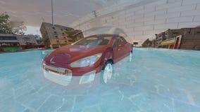 Red car transforming stock video