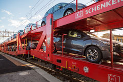 Red Car Transporter Train Stock Photography