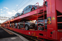 Red Car Transporter Train Stock Image
