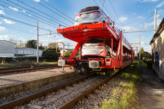 Red Car Transporter Train. I shoot this in Pisa, Italy Stock Images