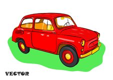 Red car for travel on green grass. Vector illustration. Royalty Free Stock Photos