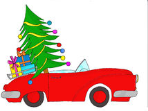 Red car with tree and gifts Royalty Free Stock Photo