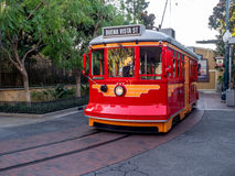 Red Car Trolley at Disney California Adventure Park. ANAHEIM, CALIFORNIA - FEBRUARY 12: Red Car Trolley at Disney California Adventure Park on February 12, 2016 Royalty Free Stock Photo