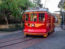 Red Car Trolley at Disney California Adventure Park Royalty Free Stock Photo