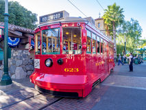 Red Car Trolley at Disney California Adventure Park. ANAHEIM, CALIFORNIA - FEBRUARY 15: Red Car Trolley at Disney California Adventure Park on February 15, 2016 Royalty Free Stock Photography
