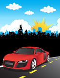 Red car vector composition. Red car, sun and skyscrapers Royalty Free Stock Photography
