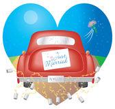 Red Car w/ Just Married Sign. A cute illustration depicting a bride and groom driving off into the night after their nuptials Stock Photography
