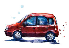 Red car watercolor illustration Stock Photo