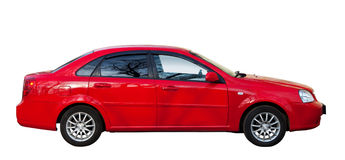 Red car on white. Isolated over white. Background Stock Photo