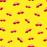 Red car yellow background seamless pattern Stock Photography