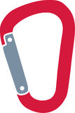 Red carabiner. Simple Red carabiner icon vector stock illustration