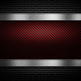 Red carbon fiber with grey perforated metal and polish metal pla Royalty Free Stock Photos