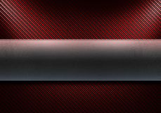 Red carbon fiber and metal texture. Abstract modern red carbon fiber with polished metal plate in center. Directional double light. Textured 3d rendering vector illustration