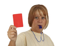 Red Card. Young woman with whistle and red card isolated on white background Royalty Free Stock Photos